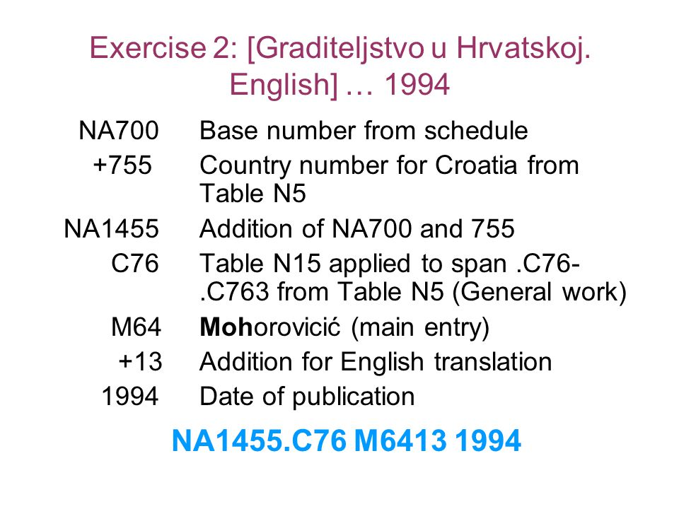 Exercise 2: [Graditeljstvo u Hrvatskoj. English] … 1994